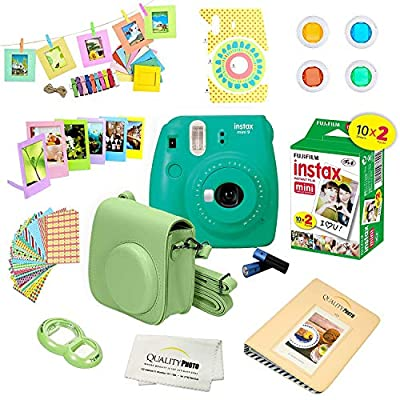 Fujifilm Instax Mini 9 Camera + Fuji INSTAX Instant Film (20 Sheets) + 14 PC Instax Accessories kit Bundle, Includes; Instax Case + Album + Frames & Stickers + Lens Filters + More by FUJIFILM
