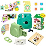 Fujifilm Instax Mini 9 Camera + Fuji INSTAX Instant Film (20 Sheets) + 14 PC Instax Accessories kit Bundle, Includes; Instax Case + Album + Frames & Stickers + Lens Filters + More (Arcadia Green)