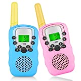 Walkie Talkies for Kids 22 Channels 2 Way Radio Toy with Backlit LCD Flashlight 3 KMs Range for Outside Camping Hiking Toys for 3-12 Year Old Girls and Boys