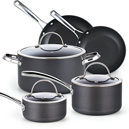 Cooks Standard, Black 8-Piece Nonstick Hard Anodized Cookware Set