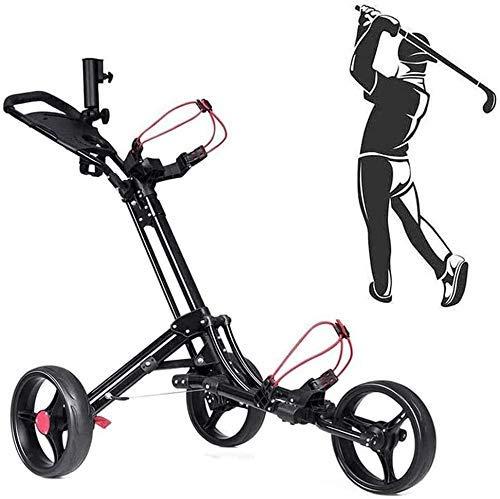 Golf Push Cart, 3-Rad, Aluminium Golf Trolley, zusammenklappbarer Push Pull Golf Cart Leichtgewicht, eine Sekunde zum Öffnen und Schließen, für Outdoor-Reisesport