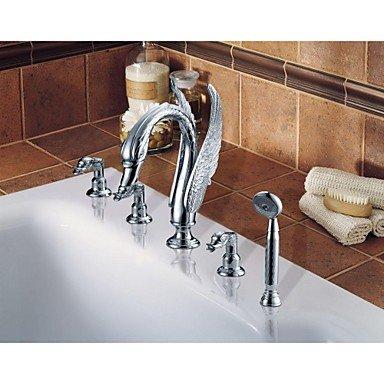 Furesnts moderno rame antico cascata rubinetti vasca 5 fori vasca rubinetti,(Standard G 1/2 tubo flessibile universale porte)