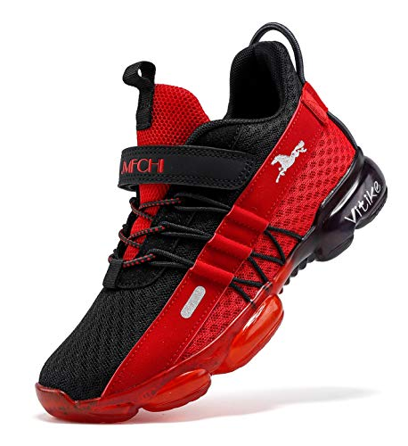 Zapatillas de deporte para niños, zapatillas para niños, zapatillas de deporte, informales, transpirables, ligeras, unisex, para niños, color Rojo, talla 38 EU
