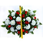 spring cemetery saddle arrangement – white mums & red roses