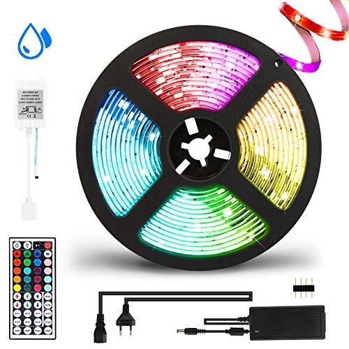 LED Strip, Hospaop RGB 5m 5050 LED Lichterkette, Wasserdicht LED Streifen Lichtband mit IR-Fernbedienung, LED Band für Zuhause, Schlafzimmer, TV, Decke, Farbwechsel, selbstklebend,Schnittbar