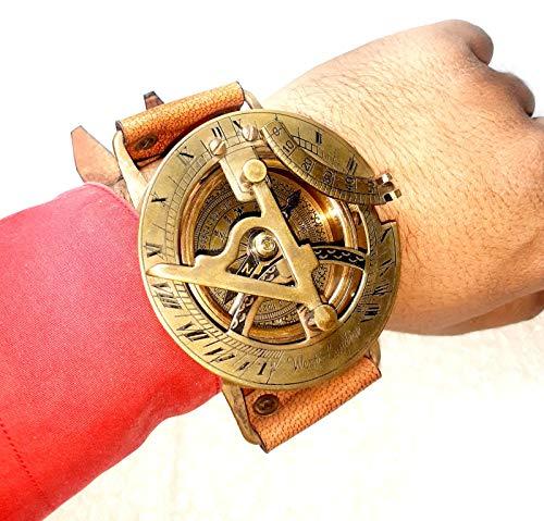 Armbanduhr aus Messing, nautische Antike, Steampunk-Sonnenuhr, Kompass, mit Lederarmband, handgefertigte Kollektion   Sonnenuhr-Kompass   Nautical Collection