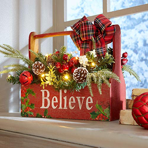 BrylaneHome Christmas Pre-Lit Believe Wooden Basket Christmas Decoration, Multi