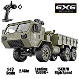 WFQ RC Military Control Truck for Boy, 1/12 Scale 6WD 2.4Ghz Remote Control Car All Terrain Heavy Duty Off-Road Full Proportion Army Truck RTR Toy,, Great Gifts for Kids and Adults
