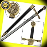 Medieval King Arthur Excalibur Replica Longsword - Gold perfect for cosplay outdoor camping