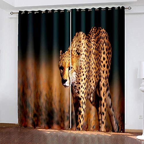 DRFQSK Cortinas Infantiles Impresión Digital Leopardo Africano Animal 3D Cortinas Opacas Termicas Aislantes Cortinas Dormitorio Moderno con Ollaos, 2 Paneles 300 X 270 Cm(An X Al)
