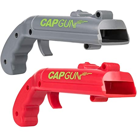 MIMIVIVA Cap Gun Bottle Opener [2 in 1 Pack], Beer Bottle Cap Gun Toy Gun, Bottle Cap Shooter Launcher, Creative Cap Gun Toy for Home Party Bar Game - Shoots Over 5 Meters (Grey and Red)