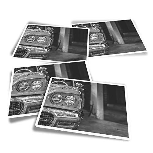 BW - Adesivi rettangolari in vinile, 4 pezzi, stile vintage, cubano per auto e veicoli retrò, per computer portatili, tablet, bagagli, libri di rottami, frigoriferi #43721