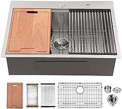 Kitchen Sink Drop In - Lordear 28x22 Drop-in Topmount 16 Gauge Stainless Steel Single Bowl Ledge Workstation Kitchen Sink Basin