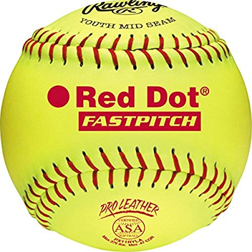 Rawlings Official ASA NFHS Red Dot Fastpitch Softballs, 12 Count, PX11RYLA
