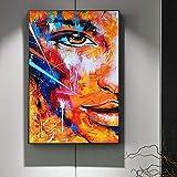 PLjVU Fuego Abstracto Media Cara Lienzo Pintura Moderna Graffiti Art Lienzo Imagen para Sala decoración de la Pared Carteles e Impresiones-Sin marco50X75cm