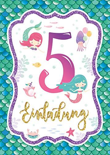 Junaversum 12 Einladungskarten zum 5. Kindergeburtstag Mädchen Meerjungfrau Einladungen fünfte Geburtstag