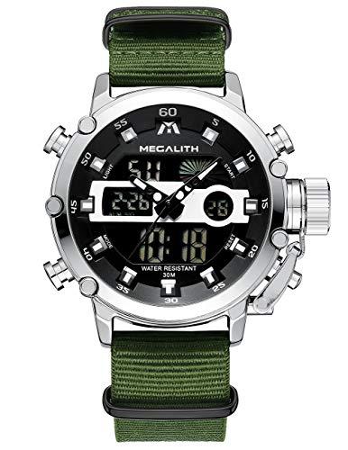 [メガリス]MEGALITH腕時計 メンズスポーツ軍事腕時計防水 クロノグラフ時計 アナデジ多機能ミリタリーウオッチ ルミナス夜光 ストップウオッチ 日付表示 アラーム おしゃれ ビジネス カジュアル 男性腕時計ナイロン