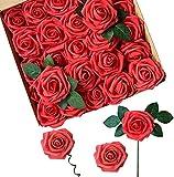 Fiori Artificiali, ACDE Rosa Artificiali 25 Pezzi Rose Finte Schiuma Aspetto Reale con Foglia e Gambo Regolabile per DIY Matrimoni Mazzi Nuziale Festa Casa Stanza Decorazioni (Rosso)