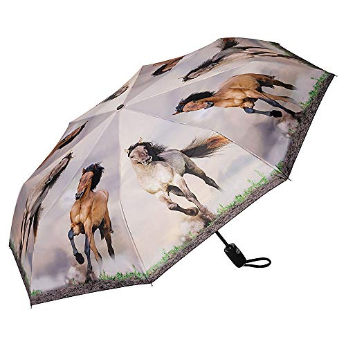 VON LILIENFELD Regenschirm Taschenschirm Wildpferde Kinderschirm Stabil Leicht Auf-Automatik Motiv