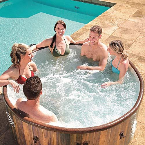 Bestway 60026E SaluSpa Helsinki 7 Person Portable Inflatable Round Outdoor Hot Tub Spa with 81 Air Jets, Cover, Pump,