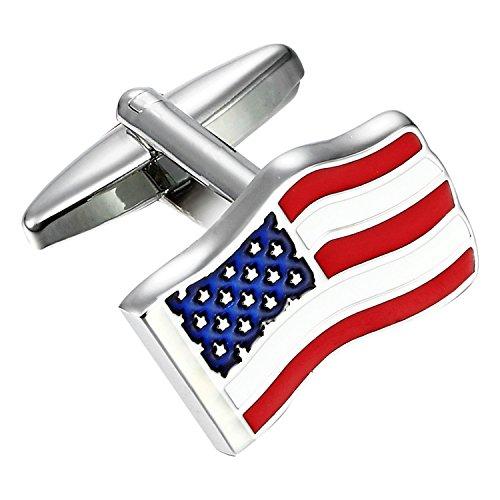 Urban-Jewelry Acier inoxydable USA - drapeau Boutons de manchette pour hommes (rouge, bleu, blanc, argent)