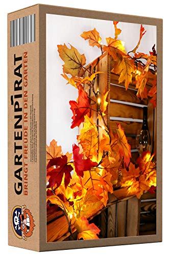 Herbst-Girlande 5 m mit großen Ahorn-Blätter von 80 LED beleuchtet
