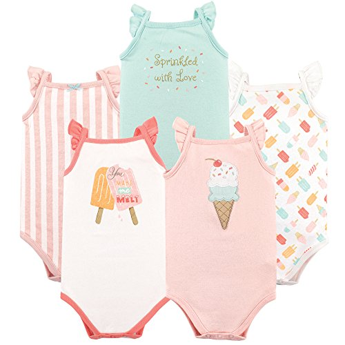 Hudson Baby Unisex Baby Cotton Sleeveless Bodysuits, Ice Cream, 0-3 Months