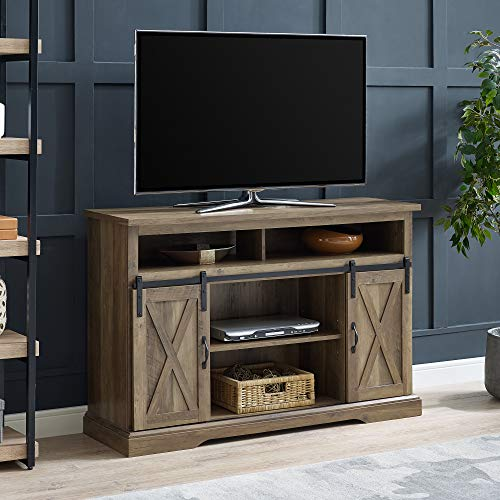 Walker Edison Furniture Company Modern Farmhouse Sliding Barndoor Wood Tall Universal Stand for TV's up to 58' Flat Screen Living Room Storage Cabinet Entertainment Center, 33 Inches, Rustic Oak