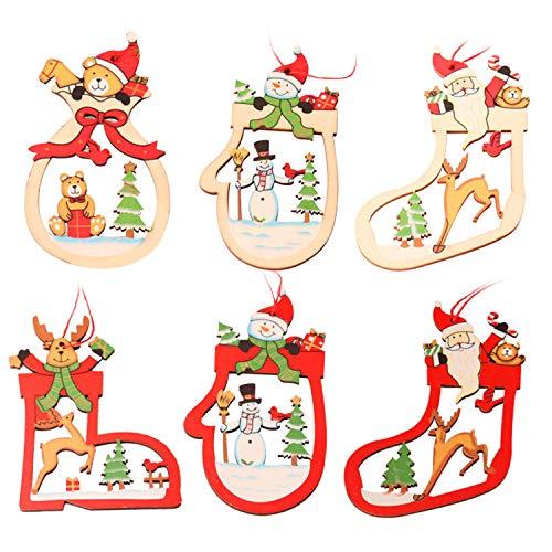WELLXUNK® Natale Ciondolo Decorazioni, Decorazione Natalizia in Legno, Albero di Natale Appeso Ornamento, Ornamenti Natalizi in Legno, Natale Fai da Te Ciondoli Legno Decorato (6 PCS)