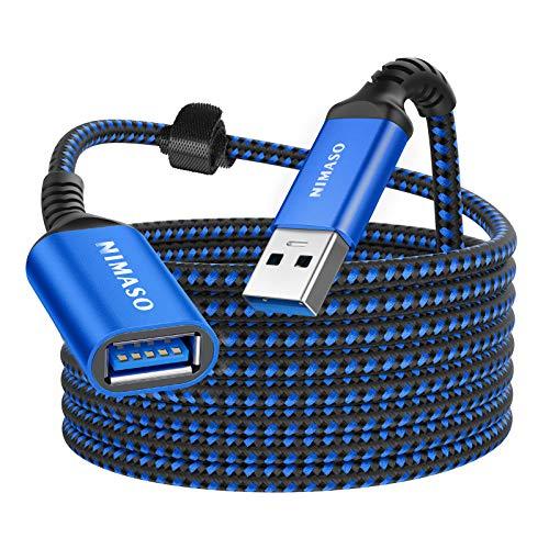 NIMASO 3 m USB-förlängningskabel, USB 3.0 förlängningskabel A-kontakt till A-uttag 5 Gbps supersnabb med guldpläterade kontakter för kortläsare, tangentbord, skrivare, skanner, kamera etc – blå