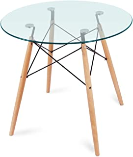 Nidouillet Round Glass Dining Table, Coffee Desk with 4Beech Wood Legs for Kitchen Living Room AB053