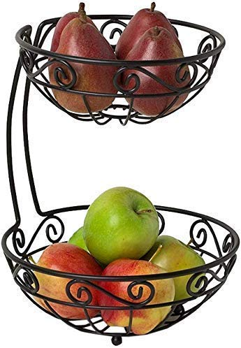 ZKAIAI Fruit Basket Snack Dip Bowls Dishware Metal Fruit Basket, Double Lotus Type Storage Basket Fruit Bowl Living Room Decoration Plate Stainless Steel Drain Basket Candy Dish, for kitchen restauran