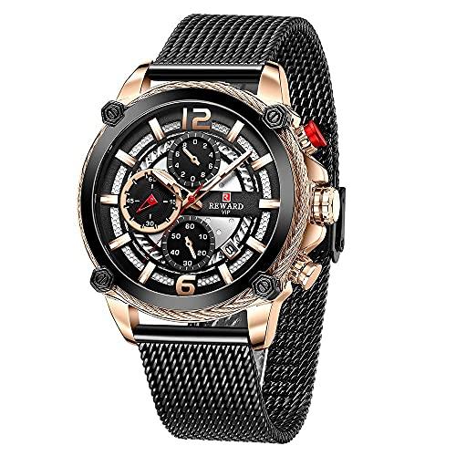 kefanrry Reloj Hombre 45mm,Reloj de Bobina,Nuevo Relojes de Acero Inoxidable Impermeable AnalóGico Cuarzo Personalizado Regalo Hombre,Relojes Hombre Baratos