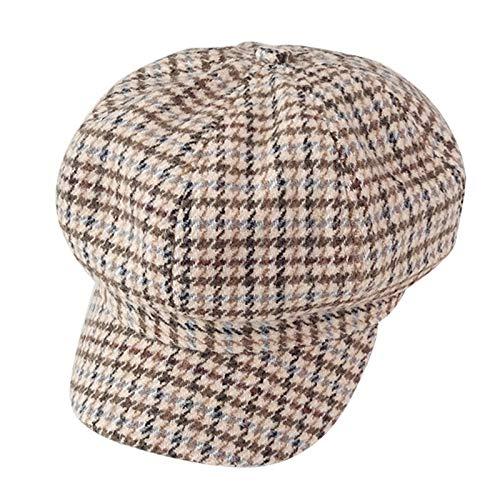 KCCCC Sombrero de Boina para Mujer Damas otoo Invierno Boina clida Moda clsico Pico Gorro Tapa Plana Estirable para Gorra de Vendedor de Peridicos para Mujer (Color : Brown, Tamao : M)