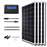 KOMAES 200 Watts 12Volts Polycrystalline Solar Panel with Energy-efficient Tech Kit Includes 20Amp PWM Solar Charge Controller, 20ft Tray Cable, 20ft MC4 Cable, Branch Connector, Mounting Z Brackets