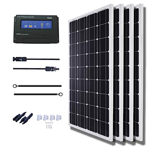 KOMAES 400 Watts 12Volts Monocrystalline Solar Panel Kit Includes 20Amp PWM Solar Charge Controller, 20ft Tray Cable, 20ft MC4 Cable, Branch Connector,Z Brackets for RVs,Trailers,Boats,Sheds,Cabins