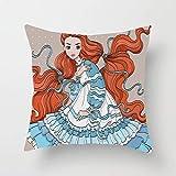 Beauté des cheveux rouges dans un style rétro vêtements de poupée victorienne œuvre d'art féminine magique jeter taie d'oreiller housse de coussin taie d'oreiller carrée pour canapé chambre canapé