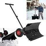 Froadp Schneeschaufel auf Rädern Verstellbarer Schaufelwinkel Höhenverstellbar Schnee-Fuchs Schneeschild Schneeschieber