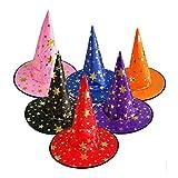 NUOBESTY 12pcs Sombrero Bruja Gorros Mago para niños Disfraz de Halloween Cosplay Bruja Accesorio: Colores Variados