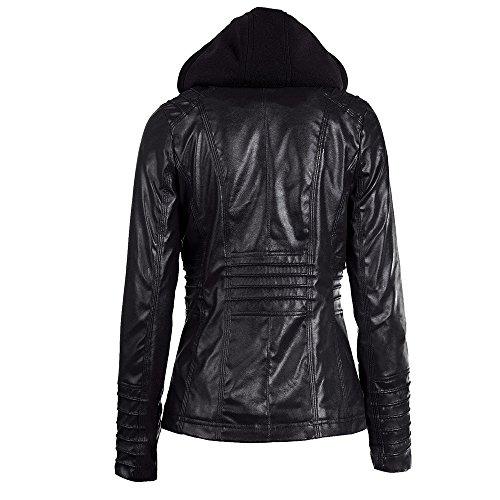 SUMTTER Lederjacke Damen mit Kapuze Jacket for Women Motorradjacke Bikerjacke mit Reißverschluss Schwarz Braun