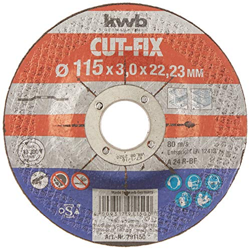 kwb Trennscheibe Cut-Fix 791150 (115 x 22, gekröpft, 3.0 mm dick, für Metall und Stahl, für Winkelschleifer)