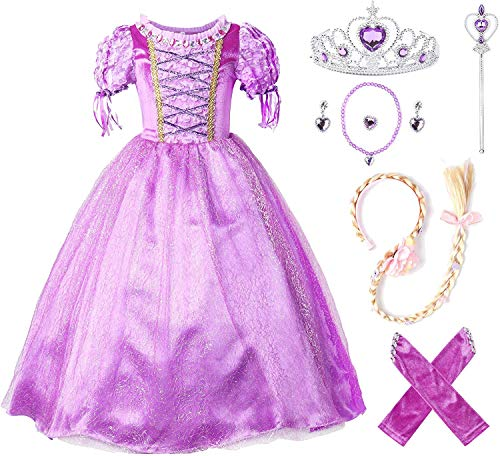 JerrisApparel Flower Girls Dress Princess Party Dress Costume (6, Purple with Accessories)