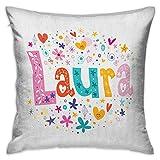 Funda de almohada personalizada Laura Square Nombre de niña con estilo Vintage Doodle Flores y...