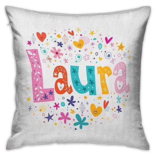 Funda de almohada personalizada Laura Square Nombre de niña con estilo Vintage Doodle Flores y estrellas Ilustración colorida Fundas de cojín multicolor Fundas de almohada para sofá Dormitorio Coche