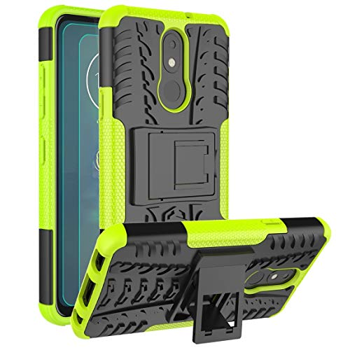 Cmore LG Aristo 4 Plus/LG Escape Plus/LG K30 2019/LG Journey LTE/LG Tribute Royal/Arena 2 TPU Phone Case w/Screen Protector[2 Pack],[Kickstand] Nonslip Shockproof Rugged for Men/Women-Blue (Green)