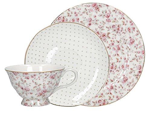 Katie Alice - Servizio da tè in Porcellana Inglese, Motivo Floreale, Colore: Bianco