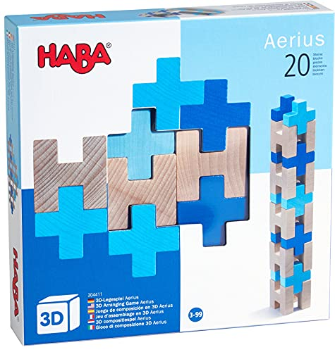 HABA 304411 - 3D-Legespiel Aerius, 20 Holzbausteine in unterschiedlichen Formen und Farben für kreatives Legen und Bauen in alle Richtungen, Spielzeug ab 3 Jahren