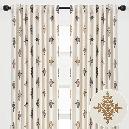 Chanasya 2-Panel Traverse Damask Blackout Curtains - 3-in-1 Back Tab, Rod Pocket, Ring Tab - for Windows Living Room Bedroom - Room Darkening Thermal Insulation Drapes 52 x 84 Inches - Chocolate