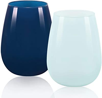 Colored Stemless Wine Glass Set for Women Men Friend Coworker Engagement Party Dinner Birthday, Funny Drinking Wine Glass Gift for Red White Wine Water Soda, 15 Oz, Set of 2, (Baby Blue, Dark Blue)
