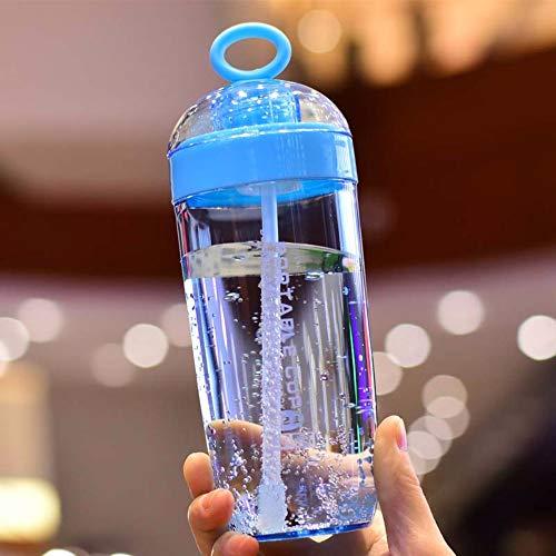 caomei Blauw plastic waterfles sport shake cup fles eiwit shaker drank fles plastic met stro reizen 380 ml